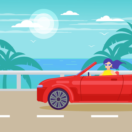 Tropical landscape. A woman rides a red cabriolet on the way to the sea. 向量圖像