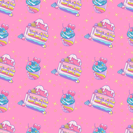 Pattern cute cupcakes and cakes with heart