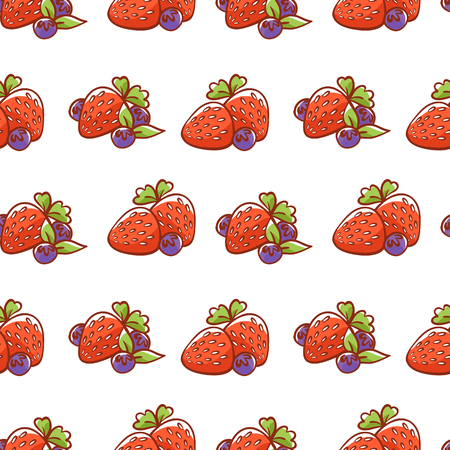 Pattern of strawberries and blueberries with leaves. Berries.