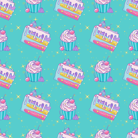 Pattern cute cupcakes and cakes with stars