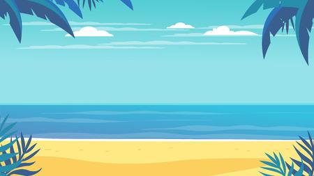 Tropical landscape. Palm trees and tropical plants. Seascape.