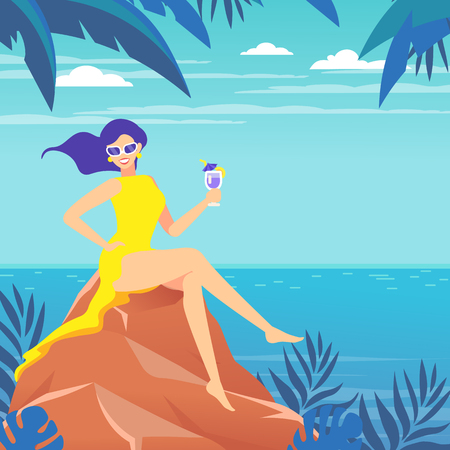 Poster. A woman sits on a stone by the sea, ocean. Tropical landscape. Woman on vacation with a cocktail.