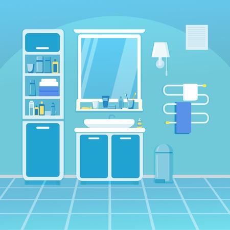 Bathroom interior in blue tones. Clean bathroom with bath amenities. Illusztráció