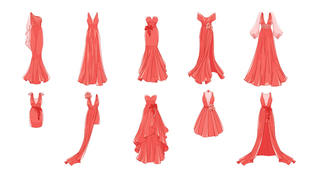 Conjunto de vestidos diferentes. Estilo moderno y clásico. Vestidos para fiesta de graduación, noche de gala, boda, mascarada, puntos.