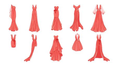 Ensemble de robes différentes. Style moderne et classique. Robes pour bal, soirée de gala, mariage, mascarade, points.