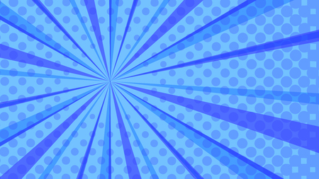 Pop art colorful dotted and rays backgrounds. Comics page, advertisement frame, web design, poster. Ilustração