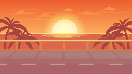 Vector scene of the road to the sea. Sea view. Tourist trip. Sunset at sea.