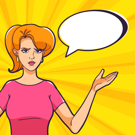 A woman spread her arms to the sides on a pop art bright background. Unwitting facial expression. A woman is not happy with the result. Иллюстрация