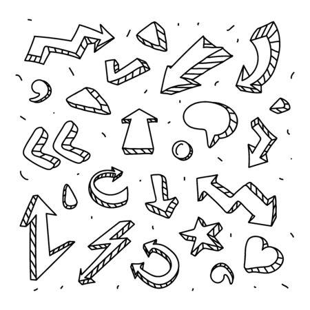 Set of arrows, pointers. Retro graffiti stickers.