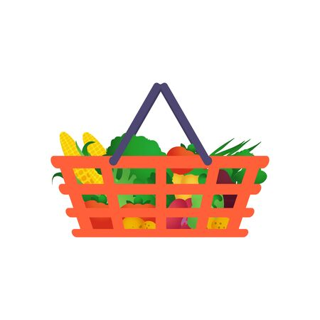 Shopping basket with vegetables. Useful food. Grocery store.