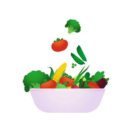 Vegetables not cut in a salad bowl. Healthy and wholesome food.