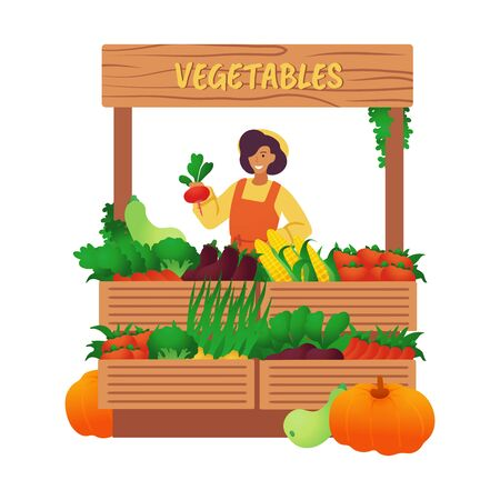 Market stall with vegetables. Sale of farm goods. Natural organic food. Vettoriali
