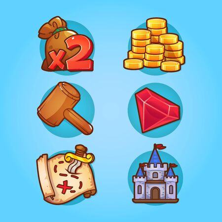 Set of game icons in cartoon style with contour.