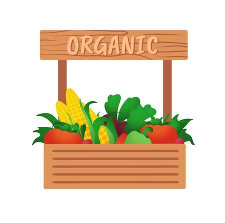 Harvest in a wooden box. Harvested. Vegetables on sale. Ilustrace
