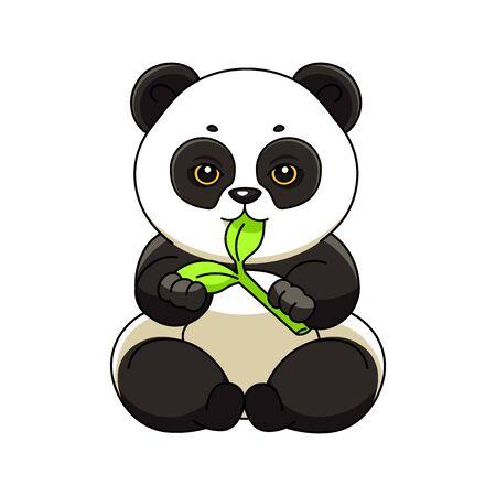 Panda sits and eats bamboo. Vector sticker, emblem. Vettoriali