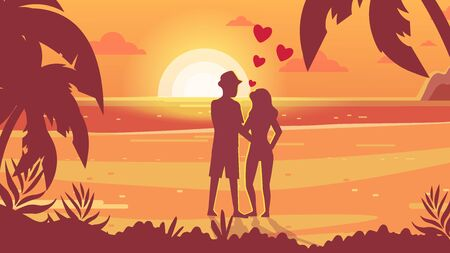 Romantic date, meeting at sunset. Lovers on the seashore watching the sunset. Honeymoon Tropical nature. Ilustração