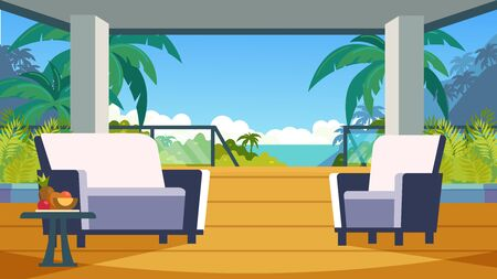 Furnished veranda in a tropical hotel. Rental housing in the journey to the sea. Terrace overlooking the sea, palm trees, fruits.