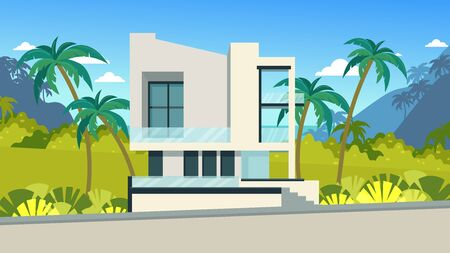 Modern house in the tropical strip. Rest and rental housing on vacation. White house with large windows, a terrace. Tropical plants on the lawn of the house. Ilustração