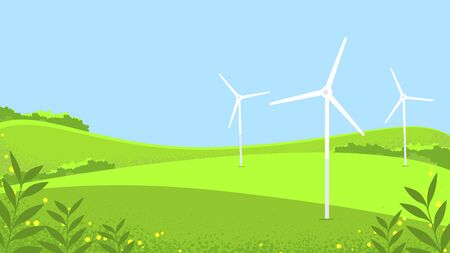 Landscape sunny meadow, green hills, agricultural pastures. Good ecology. Rustic expanses. Environmental protection, green energy, windmill in the field. Ilustração