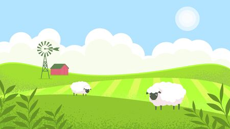 Landscape sunny meadow, green hills, agricultural pastures. Good ecology. Rustic expanses. Environmental protection, green energy, windmill in the field. Sheep graze in the meadow. Ilustração