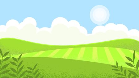 Landscape sunny meadow, green hills, agricultural pastures. Good ecology. Rustic expanses.