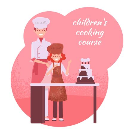 A cook and a little cook are standing near the culinary table. Big birthday cake. Courses of children's cooking. Learning culinary business.