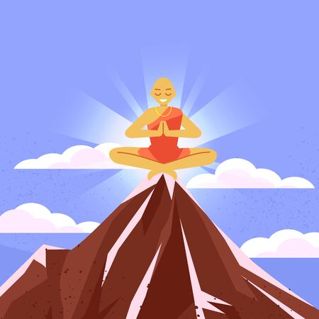 Meditations in solitude with nature. Clouds at the top of the mountain. Rocky terrain Monk meditating on top of a mountain Ilustração
