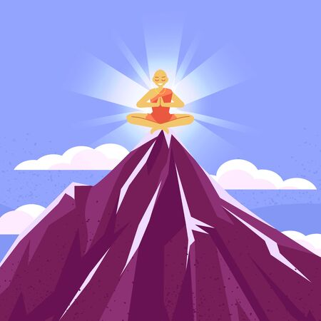 Meditations in solitude with nature. Clouds at the top of the mountain. Rocky terrain Monk meditating on top of a mountain  イラスト・ベクター素材