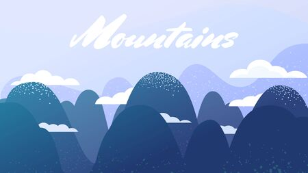 Mountain landscape. Clouds at the top of the mountain. Rocky terrain Ilustração