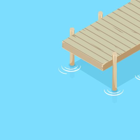 Pier on the water. Isometric vector. Water surface. Pier on the sea, lake, river, pond.