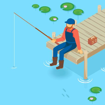 Isometric vector vacation on the lake. Pier on the lake, river, pond. Fisherman fishing on the pier. A man with a fishing rod sitting on the pier.