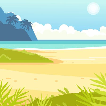 Tropical sand background. Beach overlooking the ocean. Ocean, sea. No people.