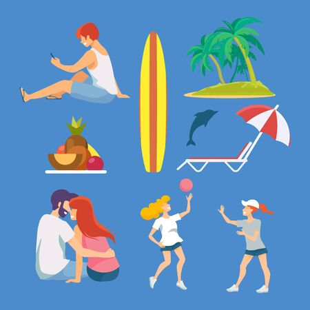 Set of pastime on the seashore. Summer vacation fun. Summertime fun. Adventure travel.