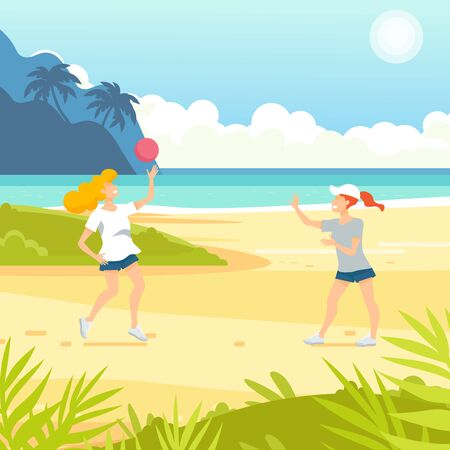 Tropical sand background. Beach overlooking the ocean. Ocean, sea. Women play volleyball. Ilustração