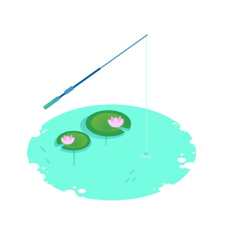 Isometric vector vacation on the lake. Water lilies in the pond, lotus blossoms, tackle fishing rods loaded into the water. Fishing on the lake.