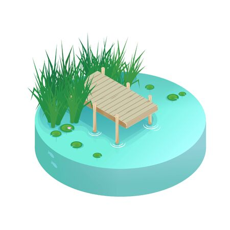 Isometric vector vacation on the lake. Pier on the lake, river, pond. Ilustración de vector