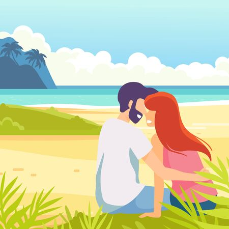 Tropical sand background. Beach overlooking the ocean. Ocean, sea. Couple on seashore. Happy family. Love kiss.