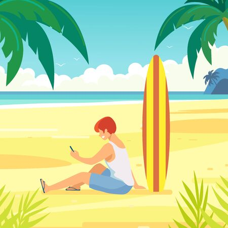 Ocean shore, tropical beach, sea coast. Sea waves. Surfer with a phone in his hands, on the sandy shore. Ilustração