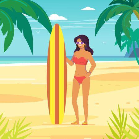 Vector tropical landscape.Ocean shore, tropical beach, sea coast. Sea waves. Surfer female.