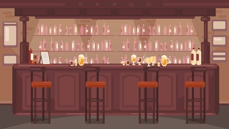 The interior of the bar. Pub with alcoholic drinks. No people. Retro wooden table. Retro style background. Brown wooden bar. Ilustração