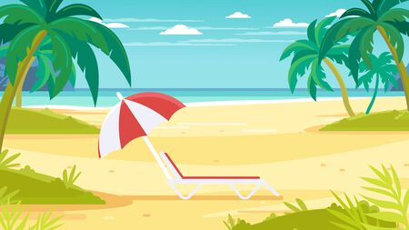 Tropical sand background. Beach overlooking the ocean. Ocean, sea. No people. Chaise lounge with umbrella.