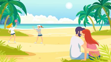 Tropical sand background. Beach overlooking the ocean. Ocean, sea. Young people relaxing on the beach. Women play volleyball. Ilustração