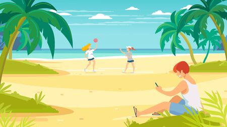 Tropical sand background. Beach overlooking the ocean. Ocean, sea. Young people relaxing on the beach. Women play volleyball. Man looks into the phone.