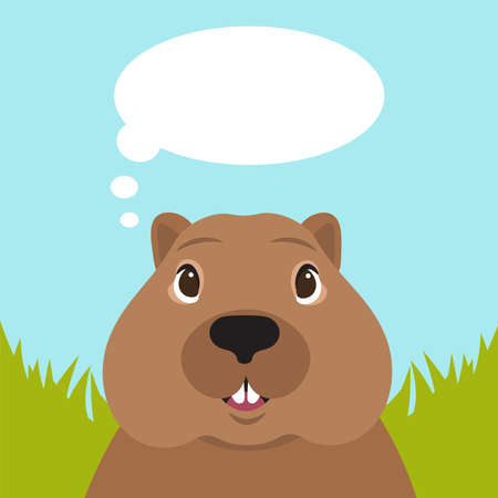 Groundhog day. The muzzle of the groundhog informs the weather.
