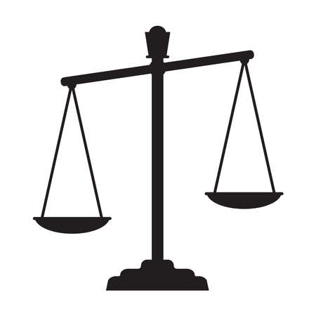 Scales of justice simple flat figure. Illustration