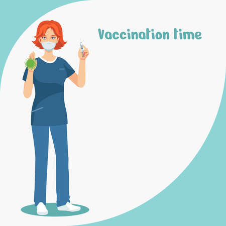 Fighting the virus. Vaccination. A healthcare professional demonstrates a vaccine against the virus. Nurse with a syringe.