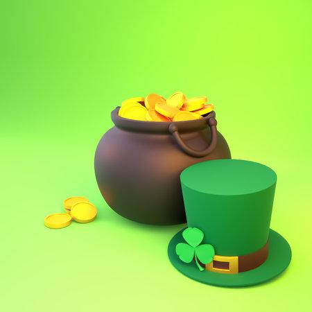 3d render St. Patrick's Day. Arrangement of a pot of gold, a hat and a shamrock. Standard-Bild