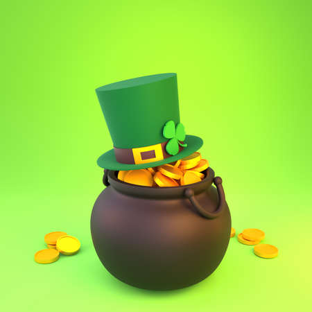 3d render St. Patrick's Day. Arrangement of a pot of gold, a hat and a shamrock. Reklamní fotografie