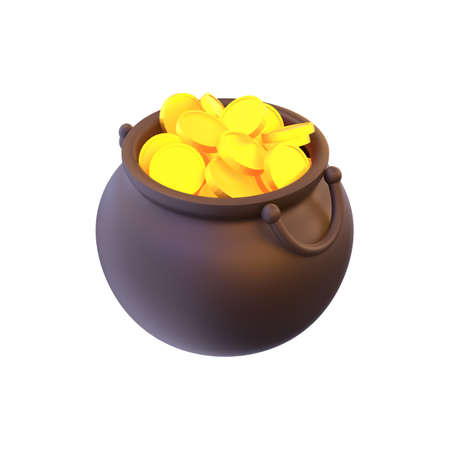 3d render pot with gold coins. St. Patrick's Day.