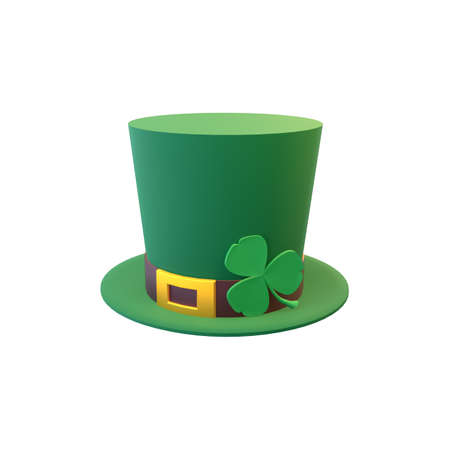 3d render St. Patrick's Day. Top hat decorated with a shamrock.